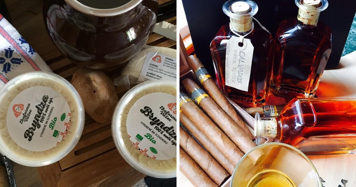 Jemná slovenská bryndza aj destilát pálený z jablkového vína - Calvados, ktorý si Michal sám vyrába.