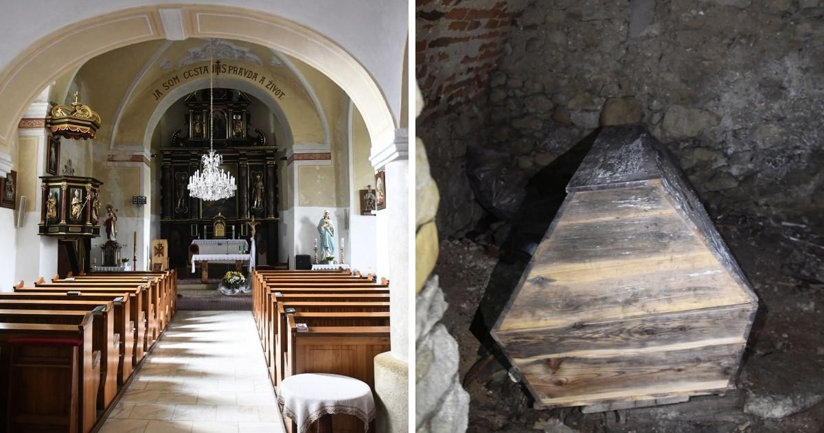 Na snímke zreštaurovaný oltár v gotickom kostole sv. Mikuláša v Domaniži a krypta, kde je v rakve je pochovaný farár Juraj Vrtík, ktorého v roku 1712 postrelil tovariš Juraja Jánošíka Turiak – Huncaga.