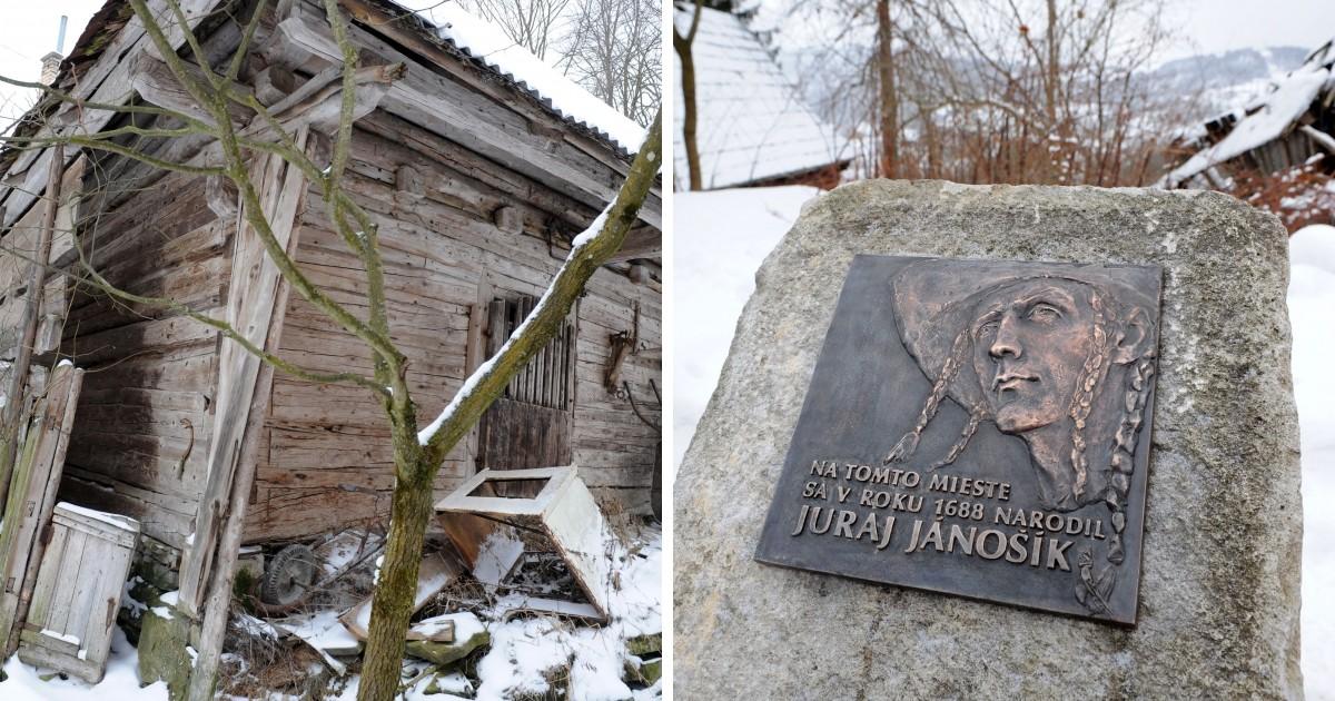 Pamätná tabuľa na mieste, kde stála drevenica, v ktorej sa narodil Jánošík.