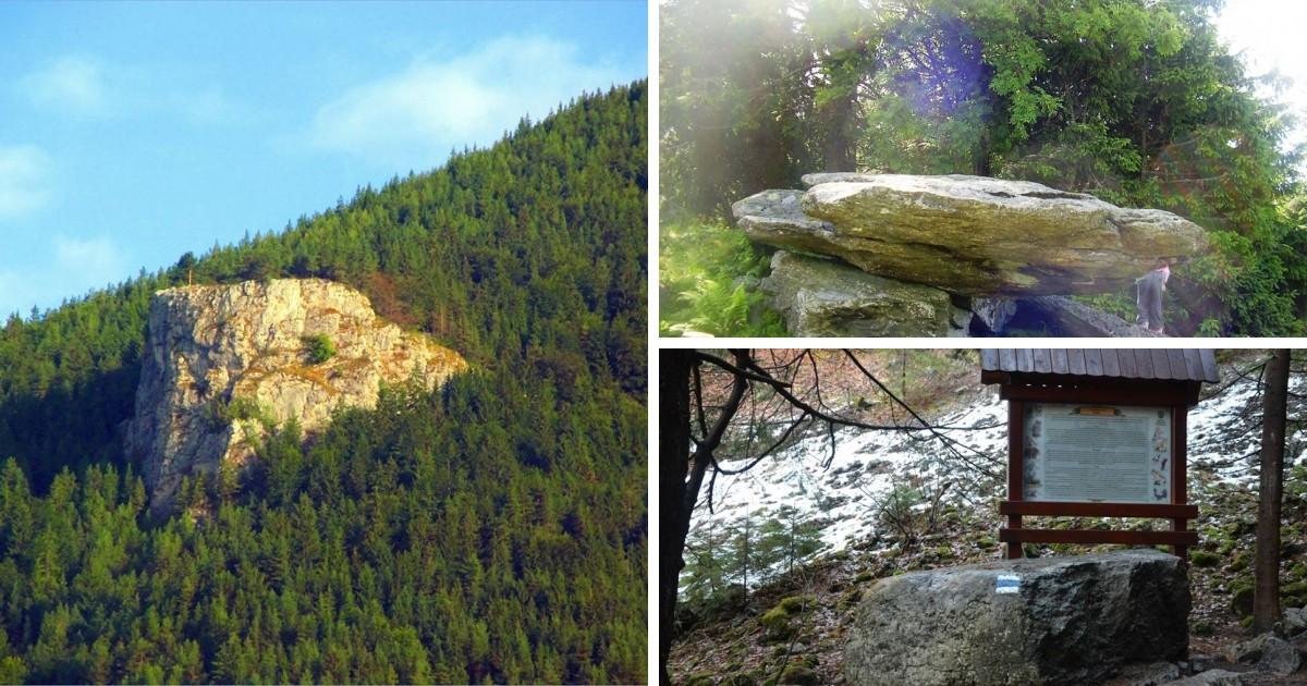 Jánošíkov stôl: vľavo Čerenova skala, vpravo hore na vrchu Stolica a vpravo dole masív po ceste na Choč.