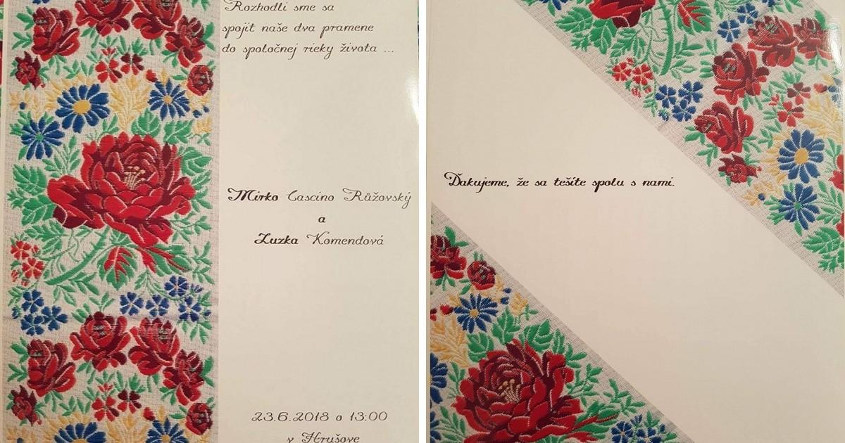 Aj svadobné pozvánky a oznámenia boli v ľudovom tóne.